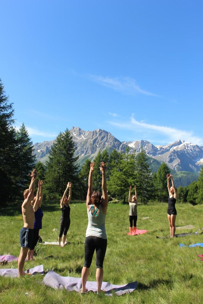 Yoga in de bergen